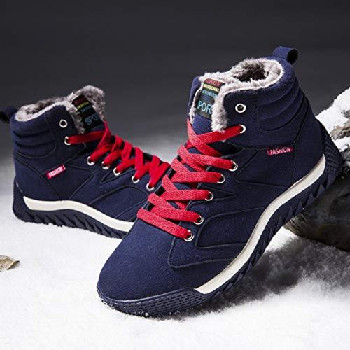 Hombres Para E 41 Gamuza Azul De Zapatillas Cálidas Informales Altas Tobillo Cuero La Oscuro Forradas Cordones Con Nieve Invierno Botas daIpwa