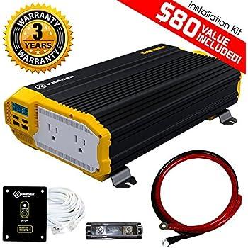 KRIËGER 2000 Watt 12V Power Inverter Dual 110V AC Outlets, Car Inverter Installation Kit. Automotive Back Up Power Supply for Blenders, Vacuums, ...