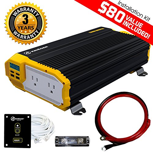 KRIGER 1500 Watt 12V Power Inverter Dual 110V AC Outlets, Car Inverter Installation Kit. Automotive Back Up Power Supply for Blenders, Vacuums, Power Tools. MET Approved to UL and CSA