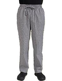 PickUp Black and white checkered cotton chef uniform pants for men elastic waist wholesale