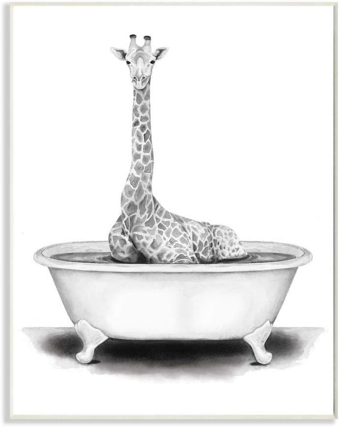 10 x 15 Design by Rachel Neiman Art Wall Plaque Stupell Industries Giraffe in A Tub Funny Animal Bathroom Drawing
