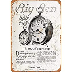 Luboter Western Clock Alarm Clocks Metal Wall Signs Iron Painting Tin Warning Sign Poster Sheet Plaque Art Decoration for Bar Café Hotel Office Dorm Garage