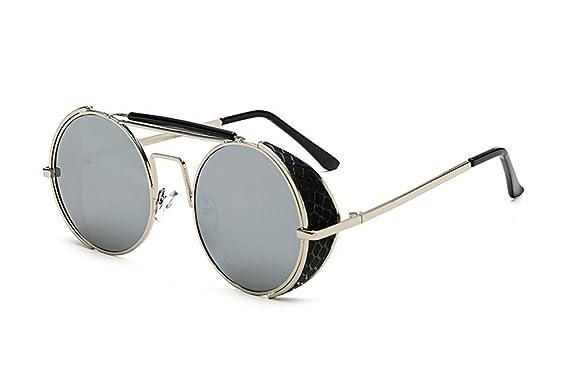 Keephen Nouveau rétro punk polarisé cadre rond lunettes de soleil PC cadre protection UV400 LVWXPw