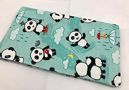 Duplicate Checkbook Cover Register with Pen Holder - Panda Love Bamboo Aqua Blue - Panda Checkbook Cover