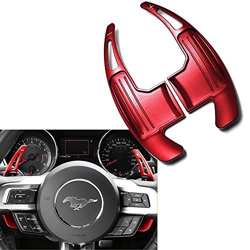Xotic Tech One Set Aluminum Red Steering Wheel DSG Paddle Shifter Direct Fit Ford Mustang 2015 2016 2017