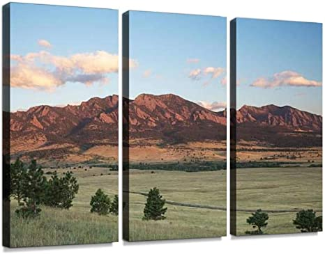 Amazon Com Belisiis Boulder Colorado Flatirons Wall Artwork Exclusive Photography Vintage Abstract Paintings Print On Canvas Home Decor Wall Art 3 Panels Framed Ready To Hang Posters Prints