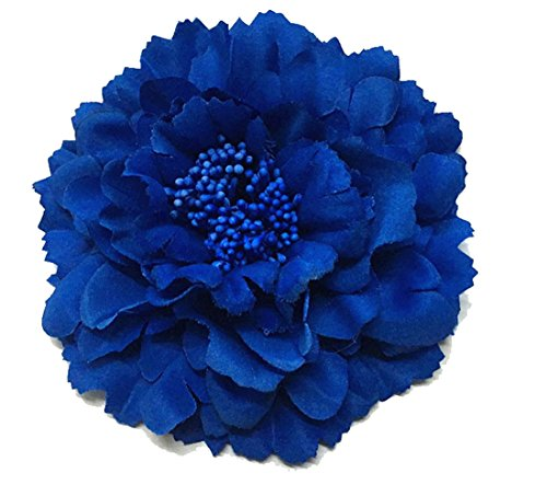 Royal Peony - Floral Fall Peony Flower Hair Clip Flamenco Dancer Pin up Flower Brooch HC-01 (Royal Blue)