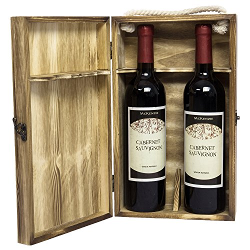 Wooden Gift Case (MyGift Dark Torched Wood Double Bottle Wine Case, Top Handle Hinged Lid Carrier, Brown)