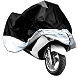 Wonderoto Motorcycle Motorbike Cover Water Resistant Dustproof Ultra Violet Protective Breathable Black and Silver Color Size XXL