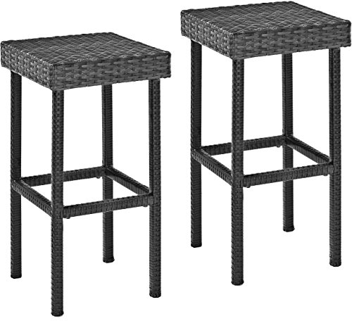 Crosley Furniture Palm Harbor Outdoor Wicker 29-inch Bar Height Stools - Grey (Set of 2) by Crosley Furniture