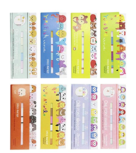 (8 Packs) Cute Animals Sicker Bookmarks Memo Pad Sticky Notepaper Sticky Notes Page Flags Self-Stick Tab Bookmark Marker Pad Cartoon Office School Supplies
