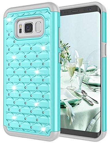 Galaxy S8 Case, Jeylly Hybrid Heavy Duty Shockproof Diamond Studded Bling Rhinestone Case with Dual Layer [Hard PC+ Soft Silicone] Impact Protection Case Cover for Samsung Galaxy S8 S VIII - (Rhinestone Bling Hard Case)