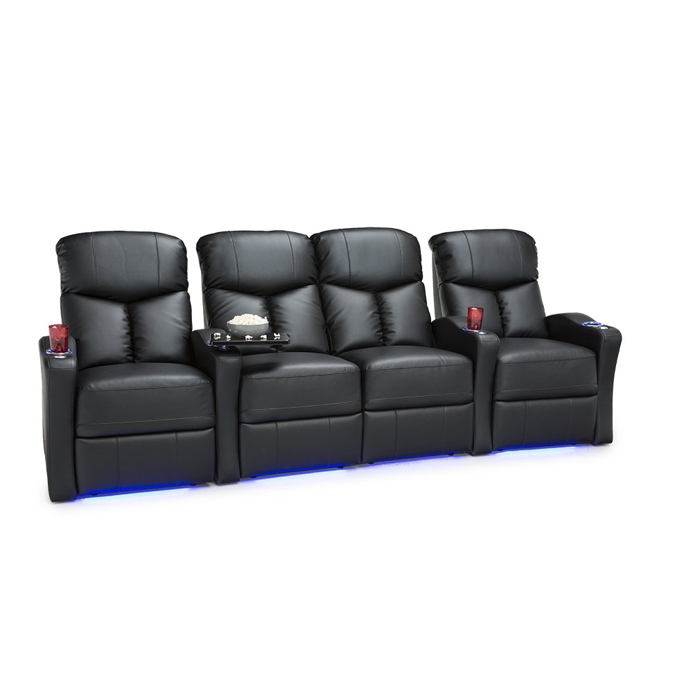 Seatcraft Raleigh Home Theater Seating Manual Recline Leather Gel (Row of 4 Loveseat, Black)