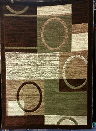 Modern Area Rug Contemporary Americana Brown & Green Design 1497 (5 Feet 2 Inch X 7 Feet 3 Inch ) (Contemporary Green)