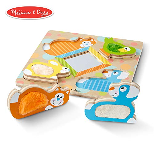 Melissa & Doug First Play Wooden Touch & Feel Puzzle Peek-A-Boo Pets with Mirror ()