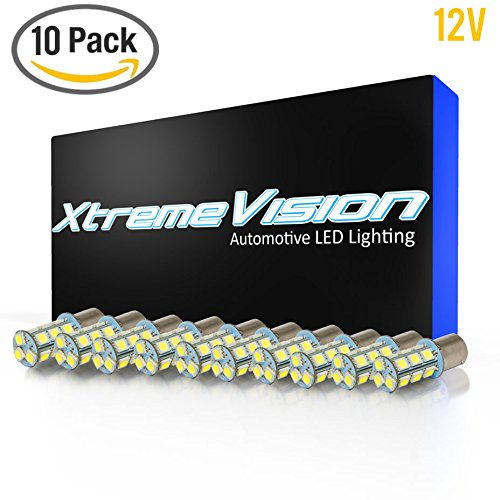 XtremeVision® 10-Pack Warm White 12V 1157 BAY15D / S25 / 1034 / 1016 Base 18 SMD 5050 Interior LED Replacement Bulb For RV (1157 Base)