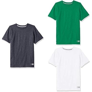f4bd05c8 Russell Athletic Big Boys' Essential Short Sleeve Tee, Black  Heather/Kelly/White