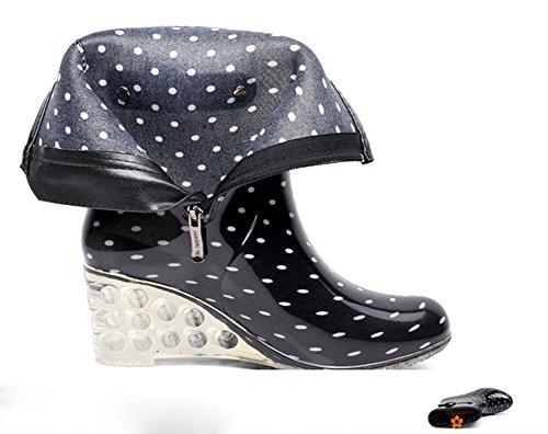 con Punto de Lluvia Cuatro Estaciones Mujer Negro Botas Antideslizantes Lateral Cremallera Agua Moda Impermeable Botas Transparente Hebilla Zapatos Y de Wealsex Cuñas Blanco g6wFq1Cg