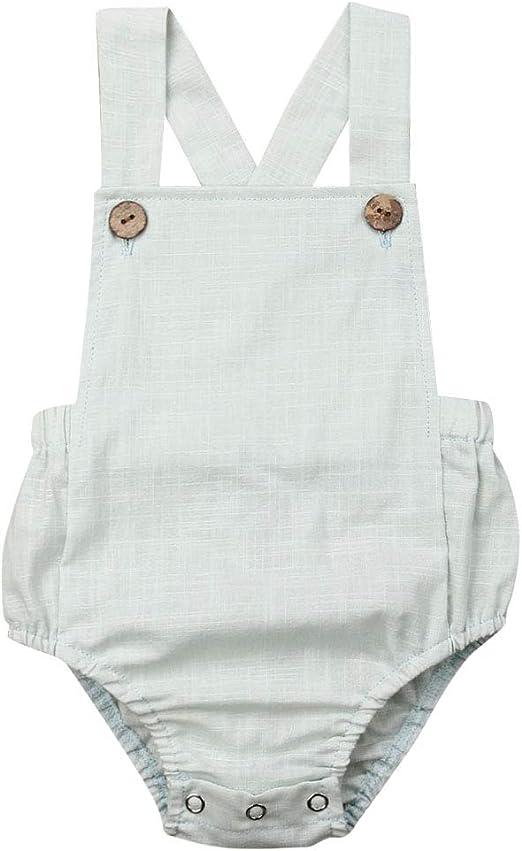 Toddler Infant Baby Bodysuit HOOUDO Summer Solid Cotton Linen Sleeveless Strap Romper Jumpsuit Onsises Newborn Baby Girl Boys