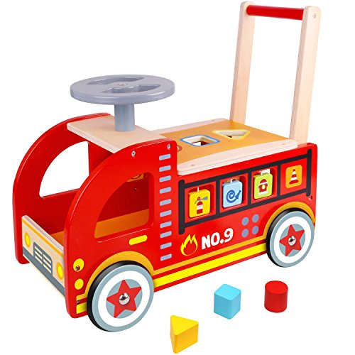Pidoko Kids Ride On Fire Truck - Wooden Push and Pull Walker Cart - Balance Wagon Toy for Toddlers Boys & Girls Age 18 Months and -