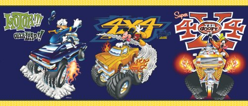 Mickey Mean Machines - Blue Mountain Wallcoverings DF059201BFP Mickey Mean Machines Prepasted Wall Border