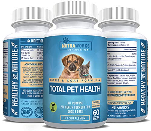 (Total Pet Health Multivitamin for All Dogs & Cats - Essential Vitamins & Minerals Support Hip & Joints, Heart & Immune System, Hair & Coat Health with Biotin, CoQ10 & More - For Senior Pets & All Ages)