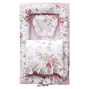Abreeze Baby Bassinet for Bed -Rose Floral Plaid Baby Lounger Including Comforter- Breathable & Hypoallergenic Co-Sleeping Baby Bed – 100% Cotton Portable Crib for Bedroom/Travel 0-24 Months