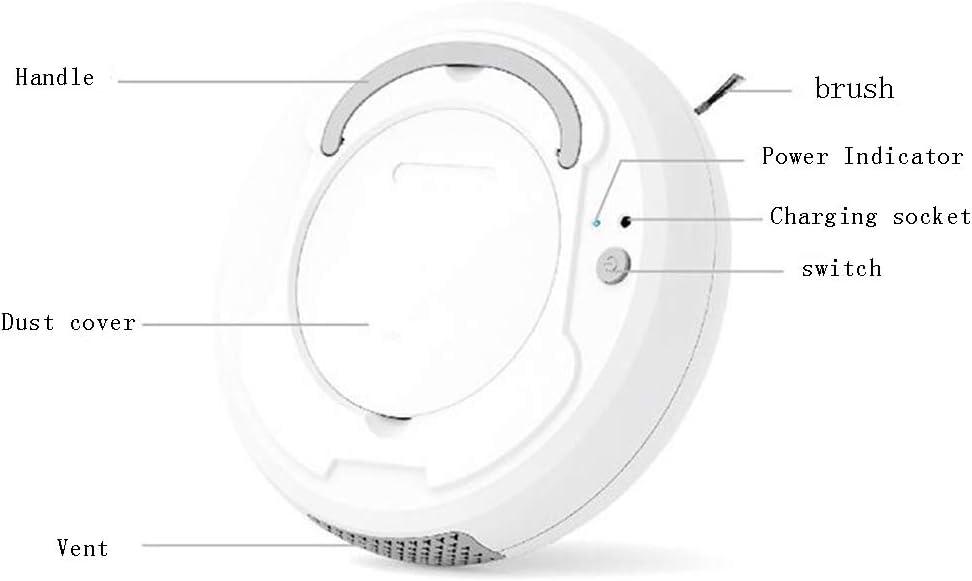 OFAY Balayeuse Aspirateur Intelligent Paresseux, Charge USB Anti-Goutte Portable De Forte Charge, Adapté pour Les Cheveux Durs Moquette Nettoyage du Sol, La Saleté,Noir White