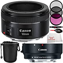 MUST-HAVE KIT FOR Canon EOS M, EOS M2, EOS M2 MARK II, EOS M3, EOS M10. Includes Canon EF 50mm f/1.8 STM Lens + Canon EF-M Lens Adapter Kit for Canon EF / EF-S Lenses 6098B002 + Lens Pen + Dust Blower + Microfiber Cleaning Cloth - International Version (No Warranty)