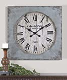 French Country Wall Clock Light Blue | Aged Distressed Square