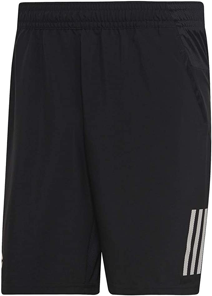 adidas Men's Club 3-Stripes 9-Inch Tennis Shorts, Black/White, Large