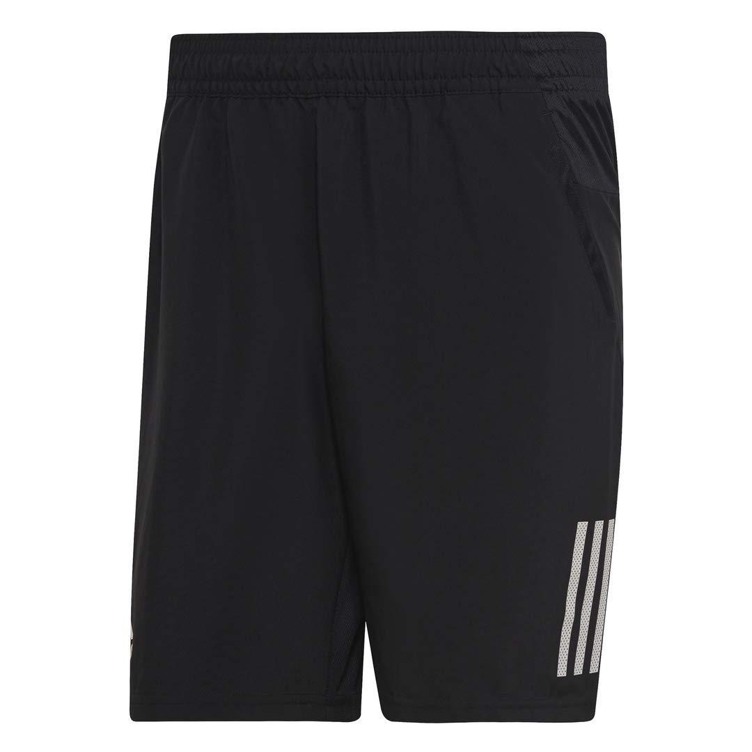 adidas Men's Club 3-Stripes 9-Inch Tennis Shorts, Black/White, X-Small