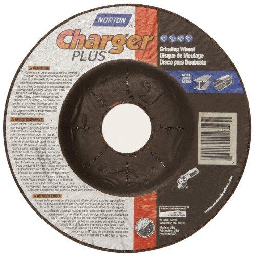 Norton Charger Plus Depressed Center Abrasive Wheel, Type 27, Zirconia Alumina and Aluminum Oxide, 7/8