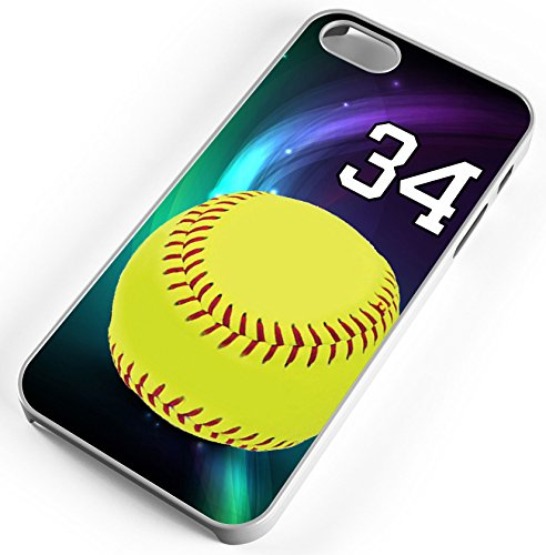 Softball Purple Swirl Clear Rubber Cell Phone Case Fits iPhone 6s or 6 Player Jersey Number 34