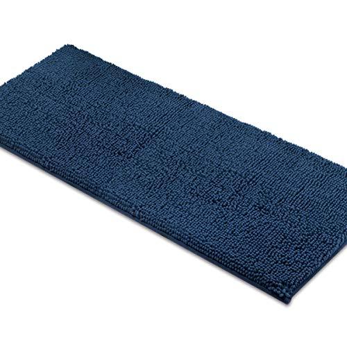 MAYSHINE Non-slip Bathroom Rugs Shag Shower Mat Machine-washable Bath mats runner with Water Absorbent Soft Microfibers - 27.5x47 inch Navy Blue