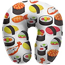 Japanese Sushi Cushion-Soft Memory Foam Travel Neck Pillow Supports The Head For Airplane Pillow, Car, Bus, Train Travel, Rest