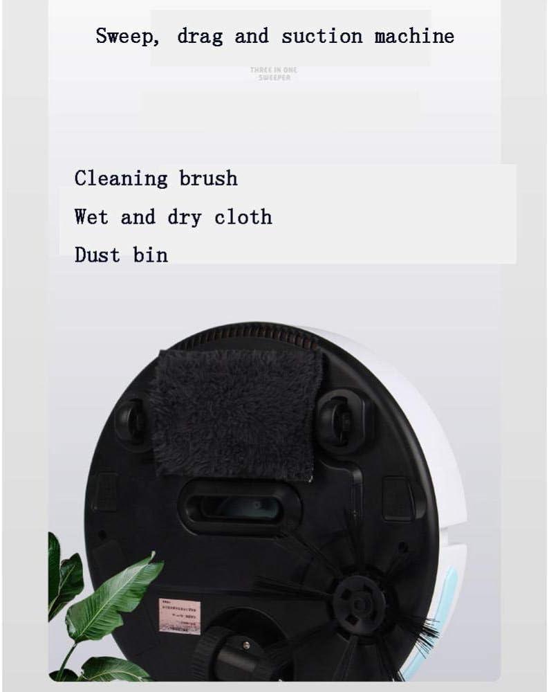 XJZKA ntelligent Balayage, Aspiration et essuyage Robot de Balayage Trois-en-Un, aspirateur avec Grande Aspiration pour Nettoyer Le Sol en Poils d\'animaux-Noir Noir