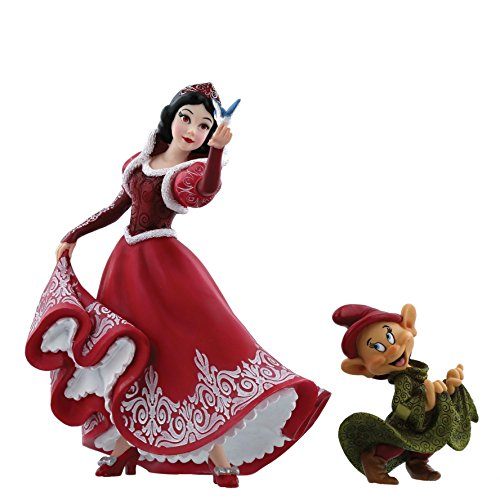 (Enesco Christmas Snow White & Dopey 80th Anniversary Stone Resin Figurine)