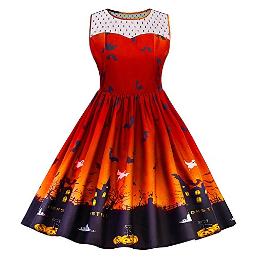 PiePieBuy Women A Line Vintage Printed Lace Panel Halloween Dress Retro Rockabilly Dresses