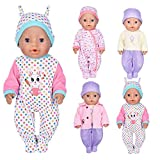 ebuddy 7pc Doll Clothes Include Bodysuit Hat and a Coat for 43cm New Born Baby Dolls/ 15 inch Bitty Baby Doll
