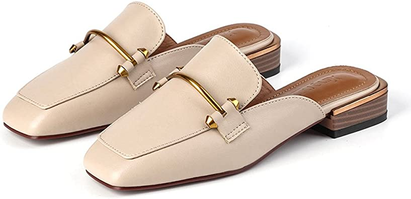 GIY Womens Faux Leather Slip-On Mules