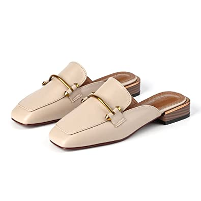 3a3560e1c5c GIY Womens Faux Leather Slip-On Mules Slippers Round Toe Loafers Slides  Backless Flats Shoes