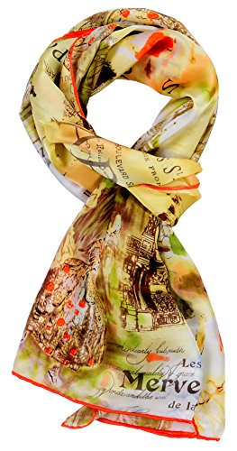Salutto Women 100% Silk Scarves Painted Parisian Scarf
