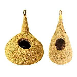 ZENRISE Coconut Fiber Bird nest Houses for cage Garden Balcony Birds – Pack of 2, Beige
