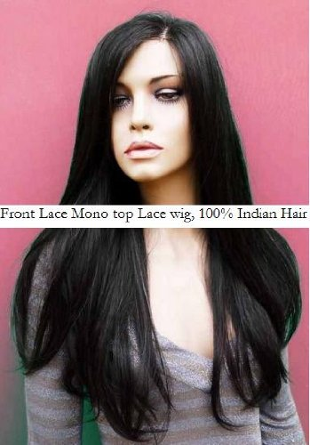 Amazon Com 20 Remy Indian Human Hair Mono Top Front Lace Wig
