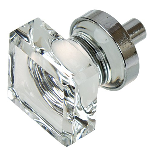 GlideRite Hardware 900025-PC-10 1 inch Square Glass Polished Chrome Cabinet Knobs 10 ()