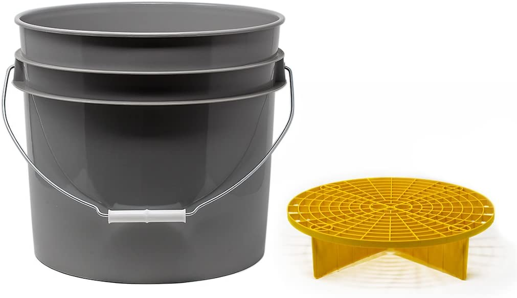 Detailmate Set Aus Us Made Wash Bucket Wasch Eimer 3 5 Gallonen 12 5 Liter Grau Grit Guard Eimer Einsatz Gelb Küche Haushalt