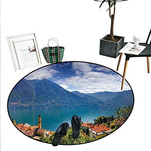 Modern Round Area Rug Mountain Village on The Hills Como Lake Italian Town European Mediterranean Scenery Circle Rugs for Living Room (3'6