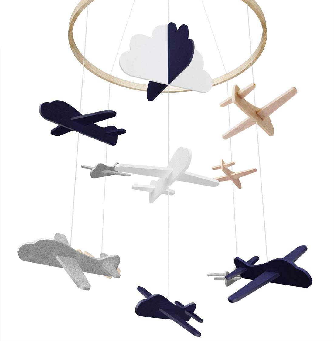 Baby Crib Mobile by Giftsfarm, Airplane & Cloud Baby Mobile, Crib Mobile for Boys Nursery Décor (2019 Newest Design)
