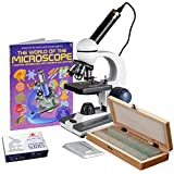 40X-1000X Cordless Student Biological Microscope+Book, Prepared & Blank Slides+USB Camera